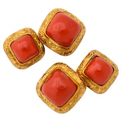 Italian Gold Coral Double Sided Cufflinks