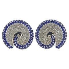 Italian Gold Diamond Sapphire Swirl Earrings