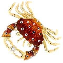 Italian Gold Enamel Crab Diamond Brooch or Pendant