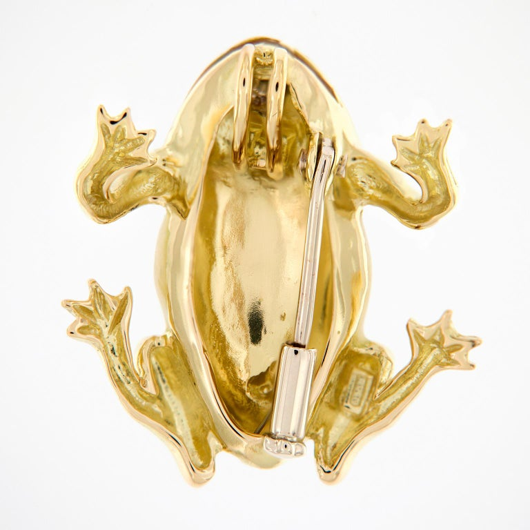 Italian Gold Enamel Frog Pin or Pendant In New Condition For Sale In Troy, MI