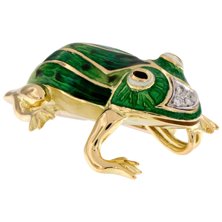Italian Gold Enamel Frog Pin or Pendant For Sale