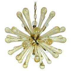 Italian Gold Flecked Clear Murano Blown Glass and Brass Sputnik Chandelier