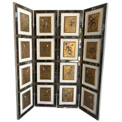 Italian Gold Florentine Hand Painted Court Jester Four Paneled Screen