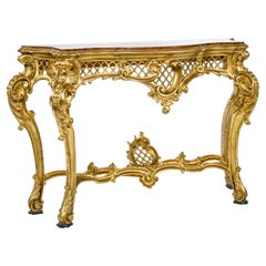 Italian Gold Gilded Rococo Console Table with Rosso Verona Marble Top