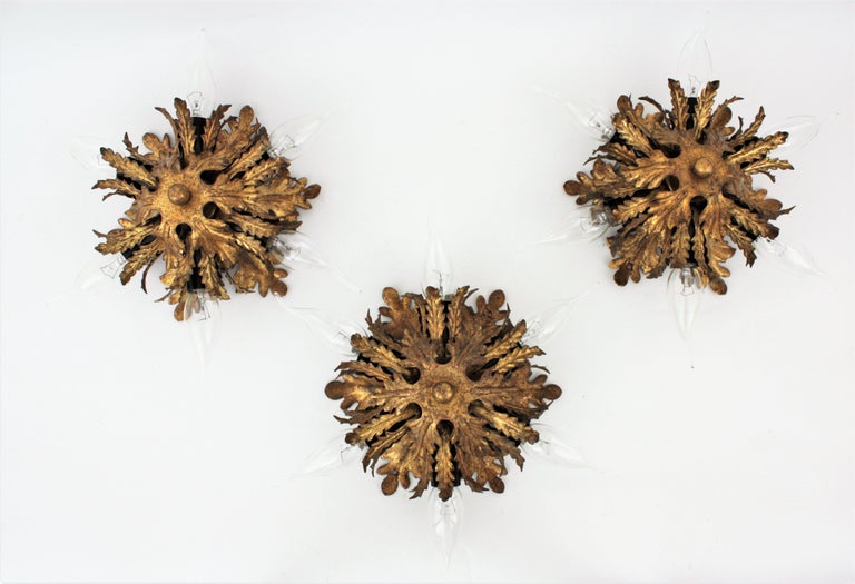 Italian Gold Gilt Iron Floral Leafed Sunburst Flush Mounts Set of Three For Sale 5