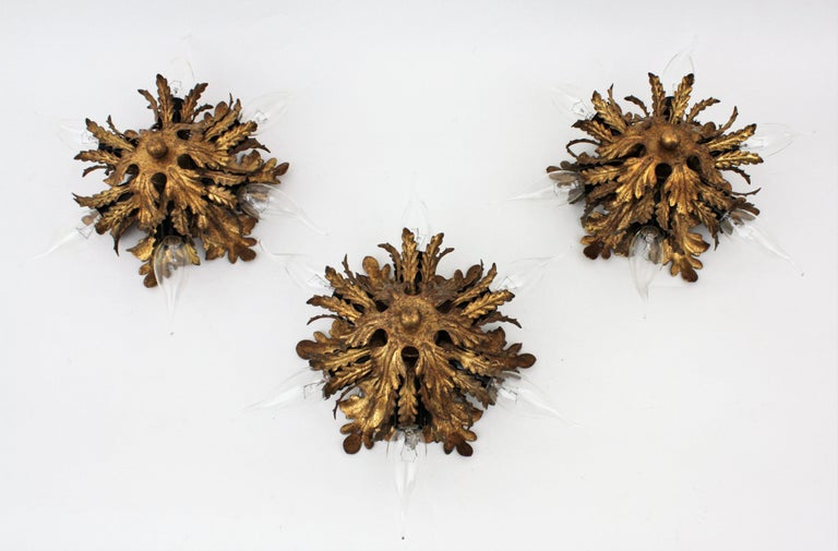 Italian Gold Gilt Iron Floral Leafed Sunburst Flush Mounts Set of Three For Sale 6