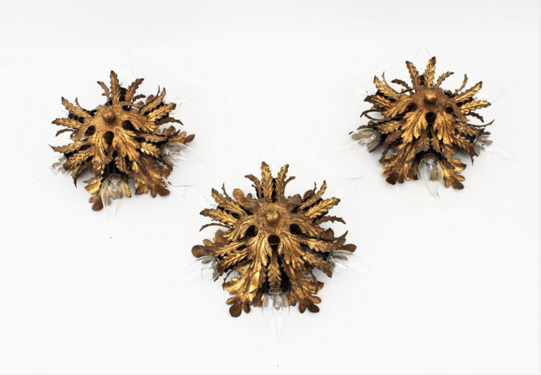 Italian Gold Gilt Iron Floral Leafed Sunburst Flush Mounts Set of Three For Sale 9