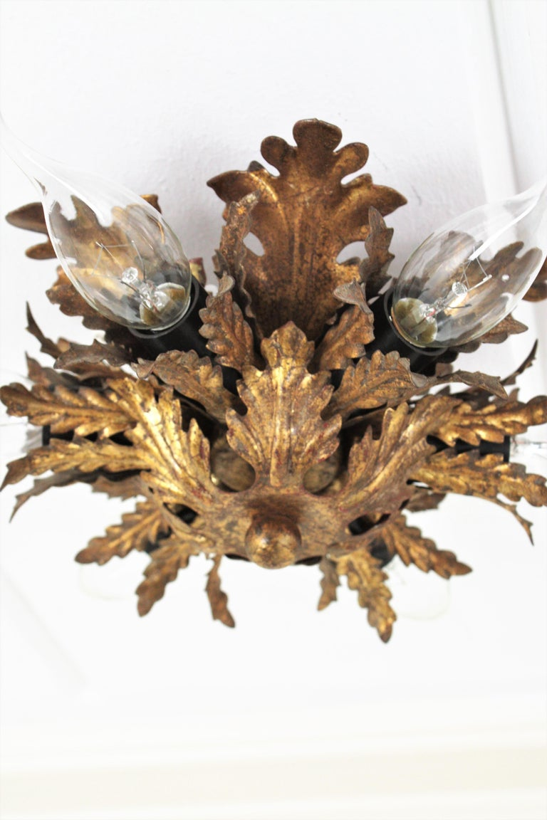 Italian Gold Gilt Iron Floral Leafed Sunburst Flush Mounts Set of Three For Sale 10