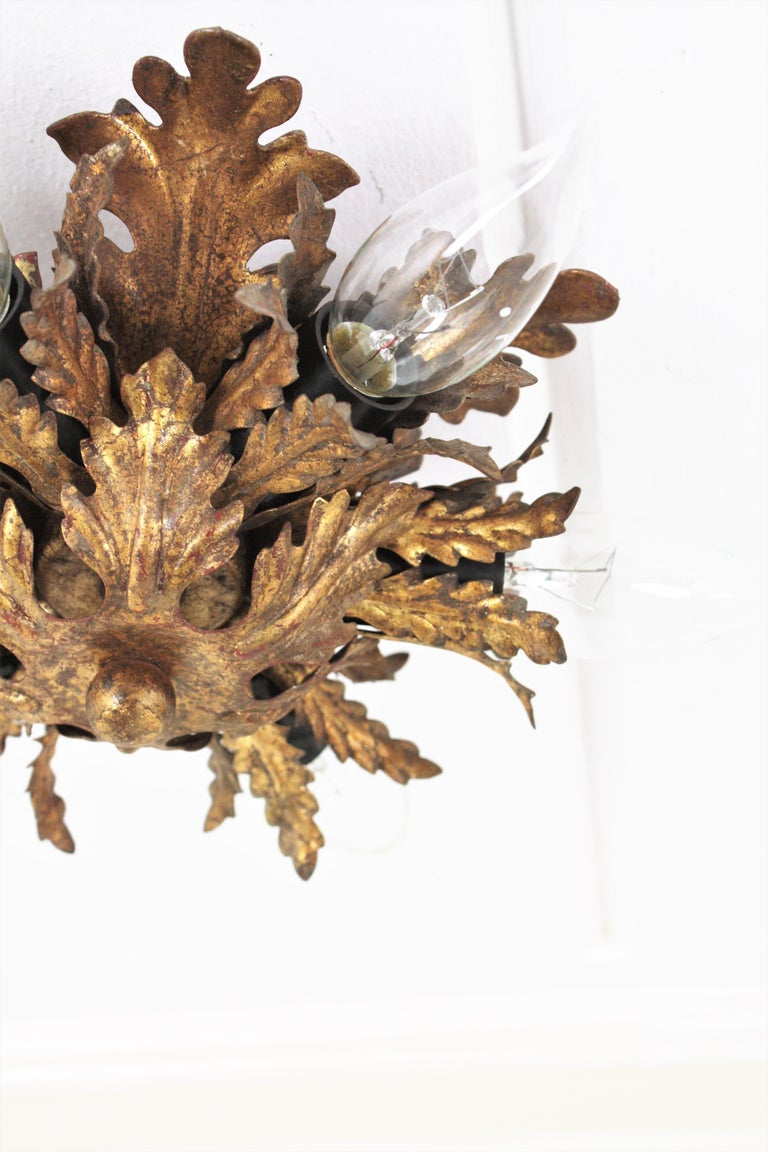 Italian Gold Gilt Iron Floral Leafed Sunburst Flush Mounts Set of Three For Sale 11
