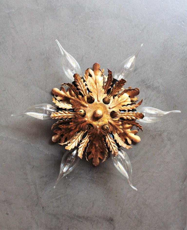 20th Century Italian Gold Gilt Iron Floral Leafed Sunburst Flush Mounts Set of Three For Sale