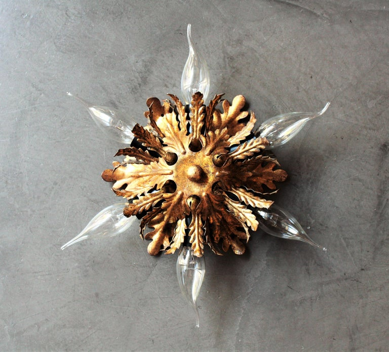 Italian Gold Gilt Iron Floral Leafed Sunburst Flush Mounts Set of Three For Sale 2