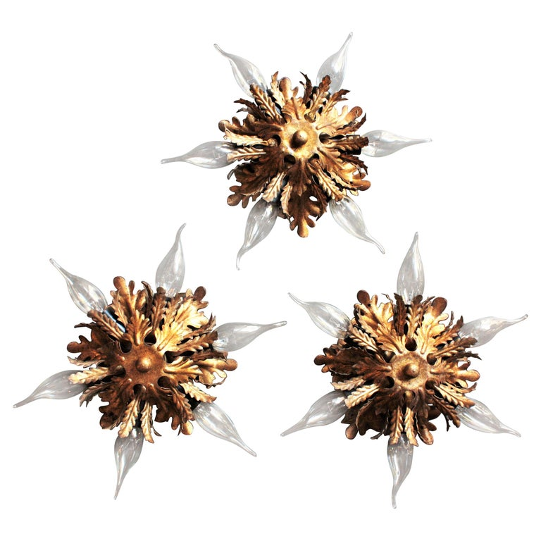 Italian Gold Gilt Iron Floral Leafed Sunburst Flush Mounts Set of Three For Sale