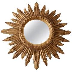 Italian Gold Gilt Sunburst Starburst Mirror circa 1940