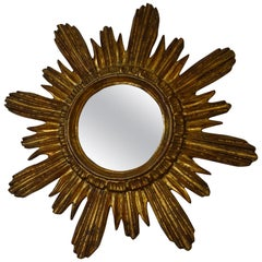 Italian Gold Gilt Sunburst Starburst Mirror, circa 1940