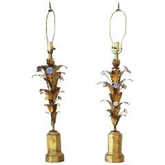 Italian Gold Gilt Tole Table Lamps