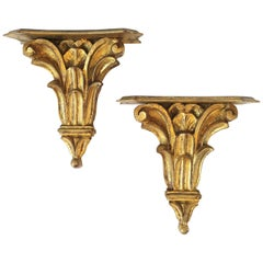 Italian Gold Gilt Wall Shelves
