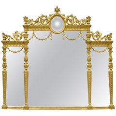 Italian Gold Giltwood French Louis XV Style Overmantel Console Wall Mirror