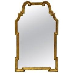 Italian Gold Giltwood Hollywood Regency Scroll Wall Console Mirror Kent Coffey