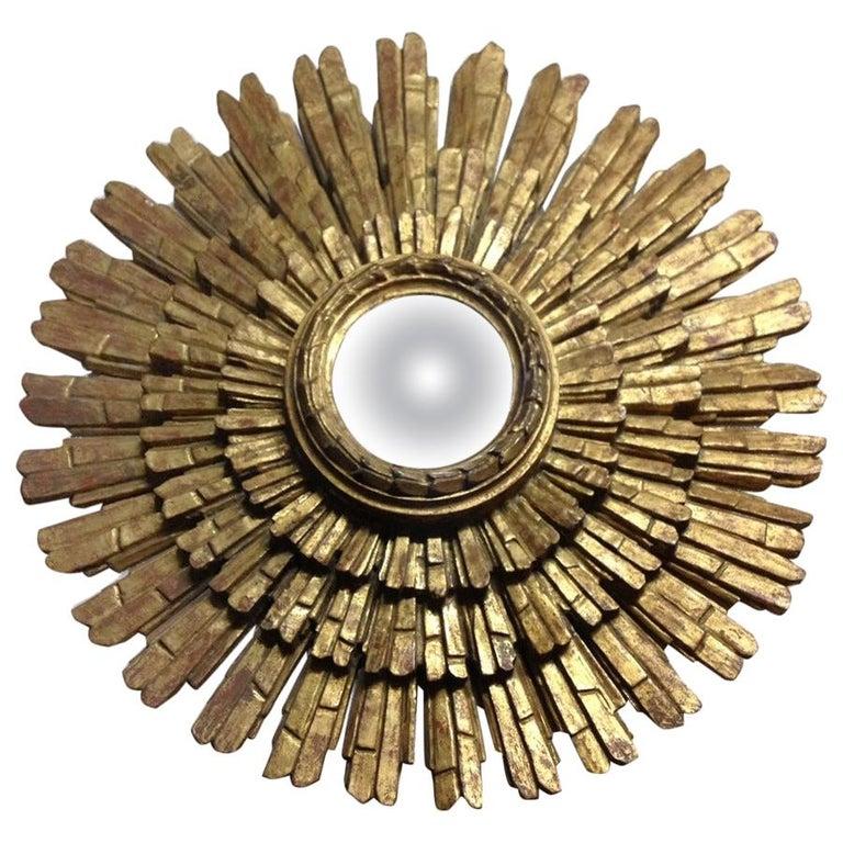 Italian Gold Giltwood Sunburst Mirror For Sale