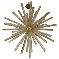 Italian Gold Murano Glass and Satin Brass Sputnik Chandelier