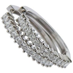 Italian Gold Princess Cut Diamond Hoop Earrings