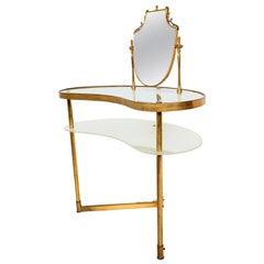 Italian Hollywood Regency Fontana Arte Style Brass and Glass Vanity with Mirror