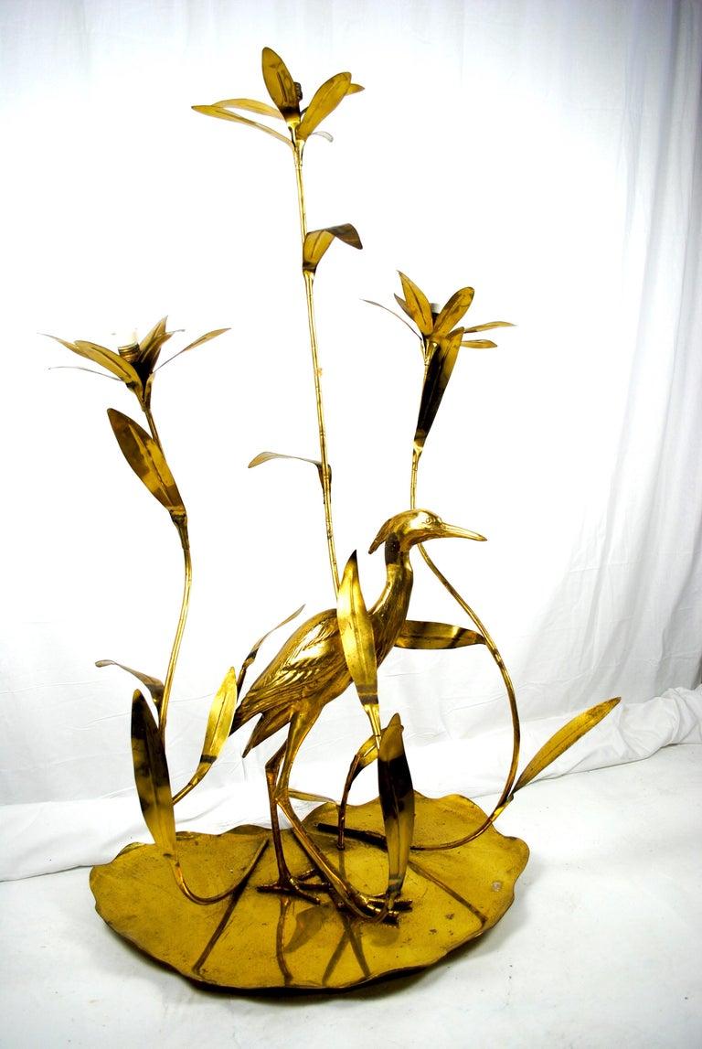 Modern Italian Golden Brass Crane/ Heron and Floral Floor Lamp for Cittone Oggi, 1960 For Sale