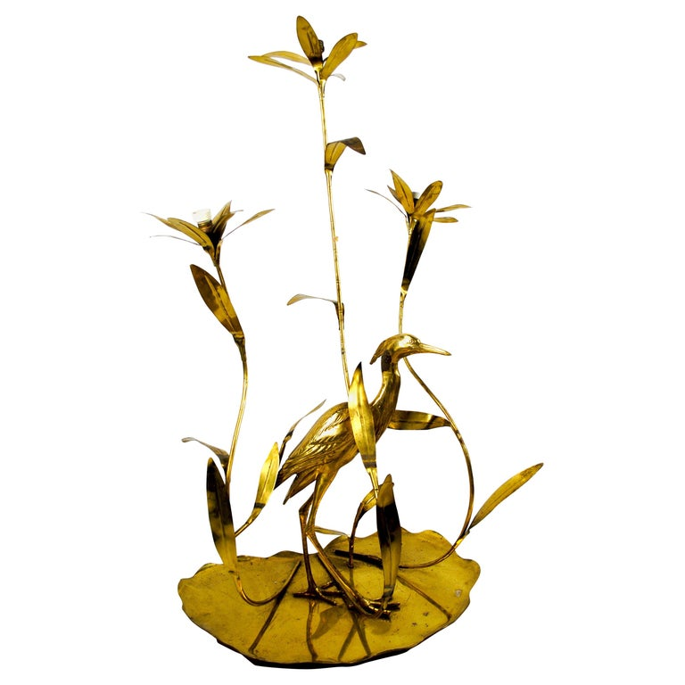 Italian Golden Brass Crane/ Heron and Floral Floor Lamp for Cittone Oggi, 1960 For Sale