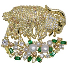 Italian Golden Goat Brooch With Pearls & CZ