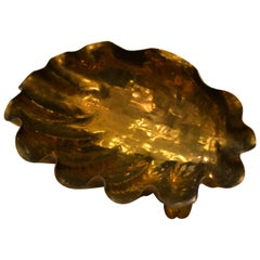 Italian Golden Hand-Hammered Bronze Clam Footed Bowl, Key Dish, Catchall, Italy