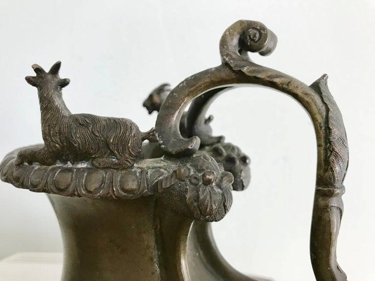 Italian Grand Tour Bronze Askos Ewer after the Roman Antique Original For Sale 3