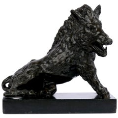 "Italian Grand Tour Bronze Sculpture ""Borghese Wild Boar"" after the Antique"