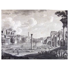 Italian Grand Tour Forum Romanum Campo Vaccino Etching by François Morel 1796