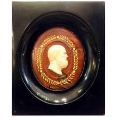 Italian Grand Tour Neoclassical Carved Marble Philosopher Cameo Miniature
