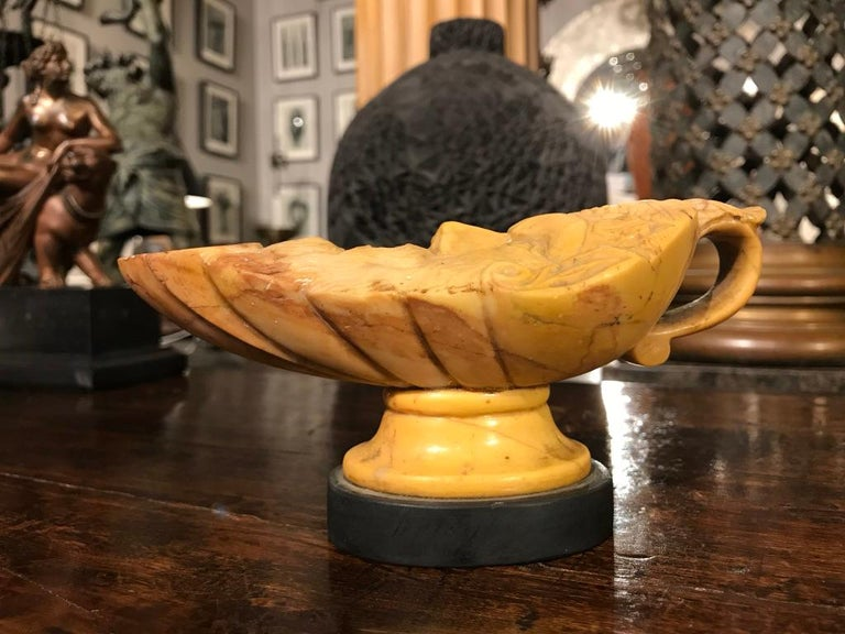 Hand-Carved Italian Grand Tour Siena Marble Oil Lamp For Sale