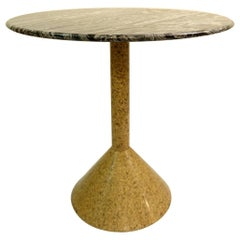 Italian Granite and Marble Round Side Table