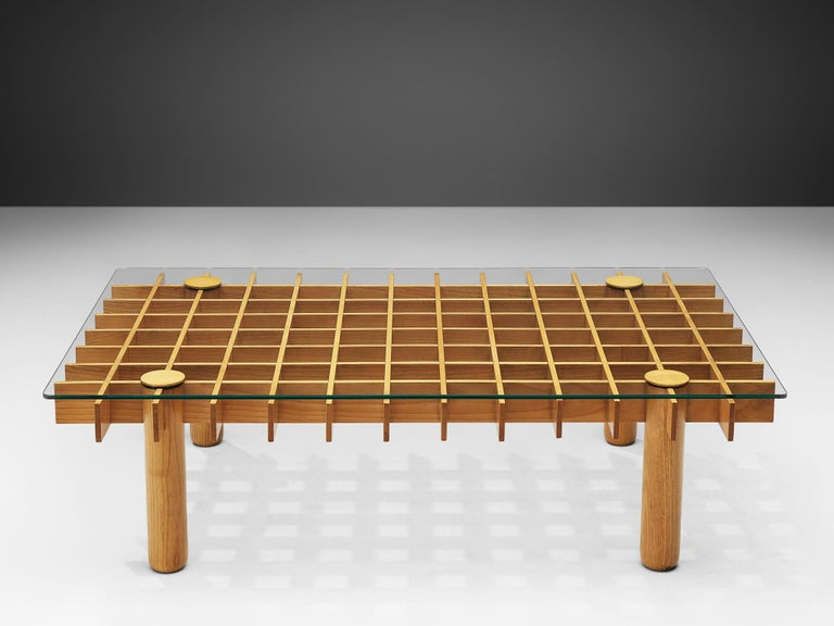 Mid-Century Modern Italian Graphical Coffee Table in Maple and Glass For Sale