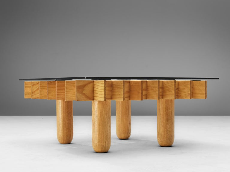 Late 20th Century Italian Graphical Coffee Table in Maple and Glass For Sale
