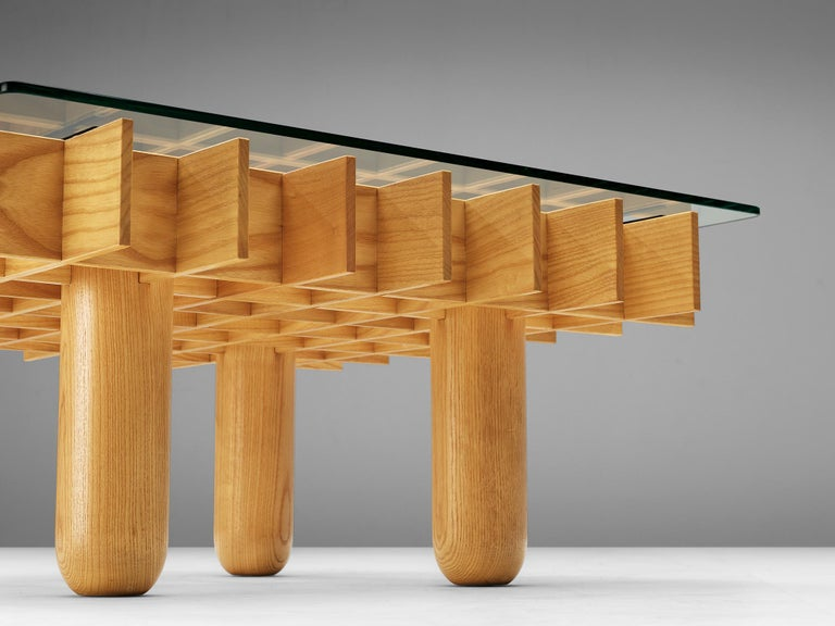 Italian Graphical Coffee Table in Maple and Glass For Sale 1