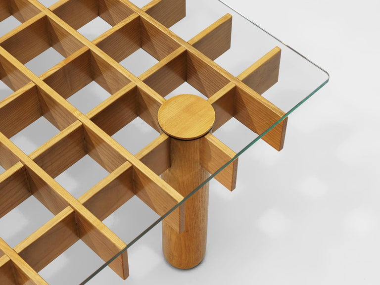 Italian Graphical Coffee Table in Maple and Glass For Sale 2