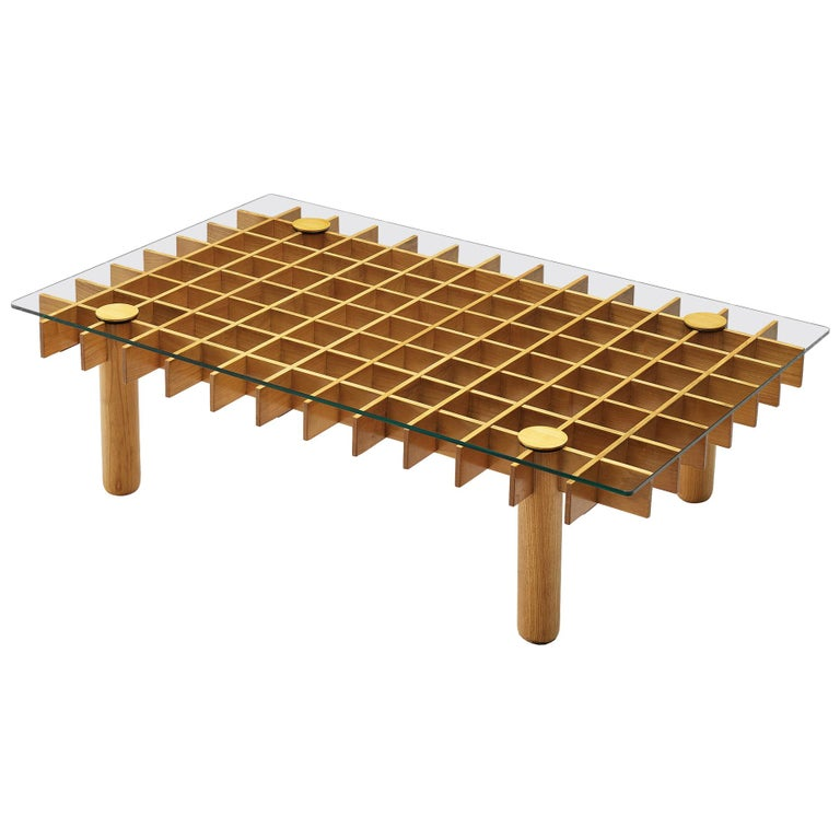 Italian Graphical Coffee Table in Maple and Glass For Sale