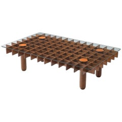 Italian Graphical Coffee Table in Oak and Glass