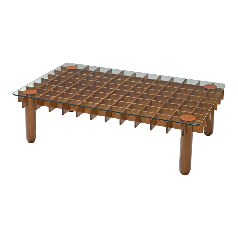 Italian Ottoman Coffee Table: Italian Graphical Coffee Table In Wood At 1stdibs