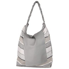 ITALIAN Gray Striped Fabric & Leather LARGE Flap TOTE
