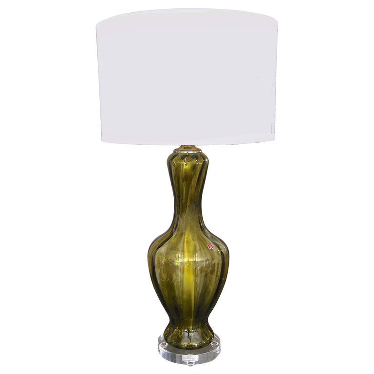 Italian Green Absinthe Colored Murano Glass Table Lamp For Sale