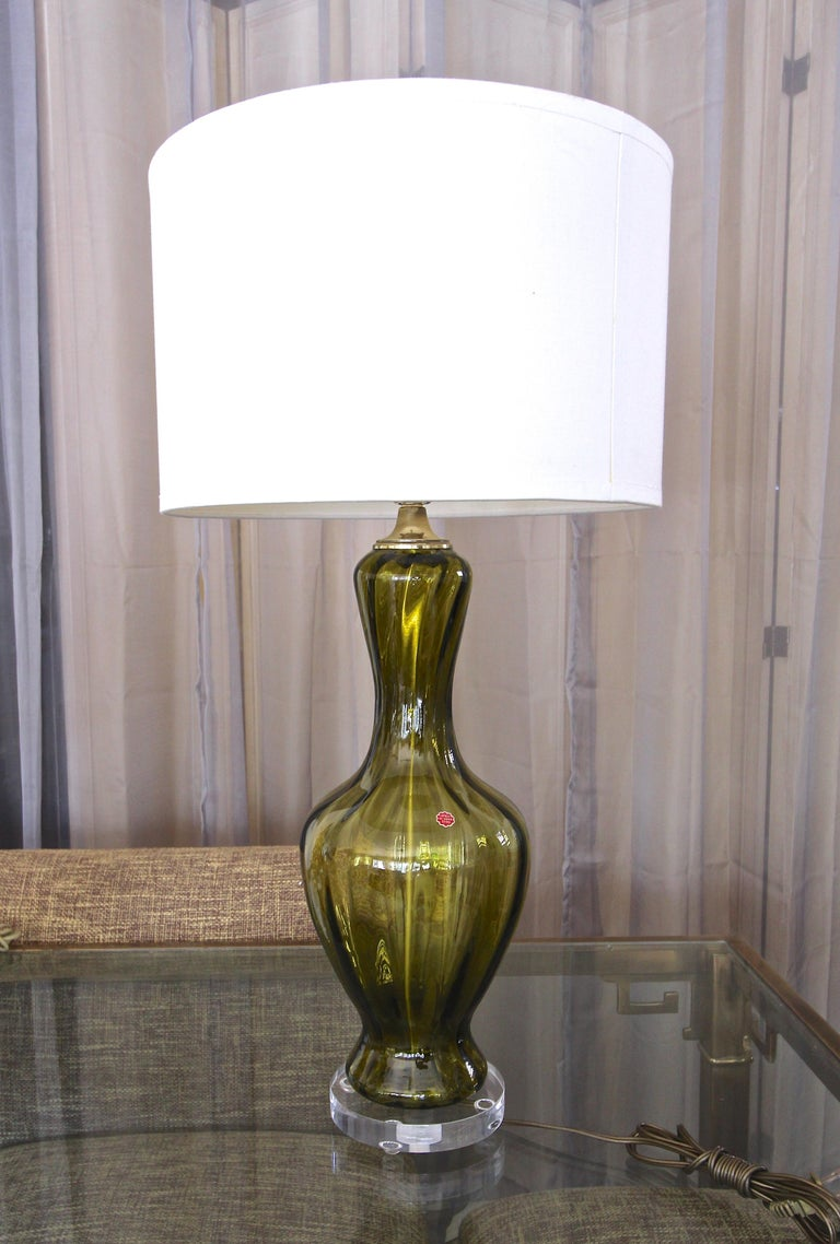 Italian Green Absinthe Colored Murano Glass Table Lamp For Sale 8