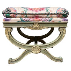 Italian Green and Cream Painted Stool with a Shell Motif