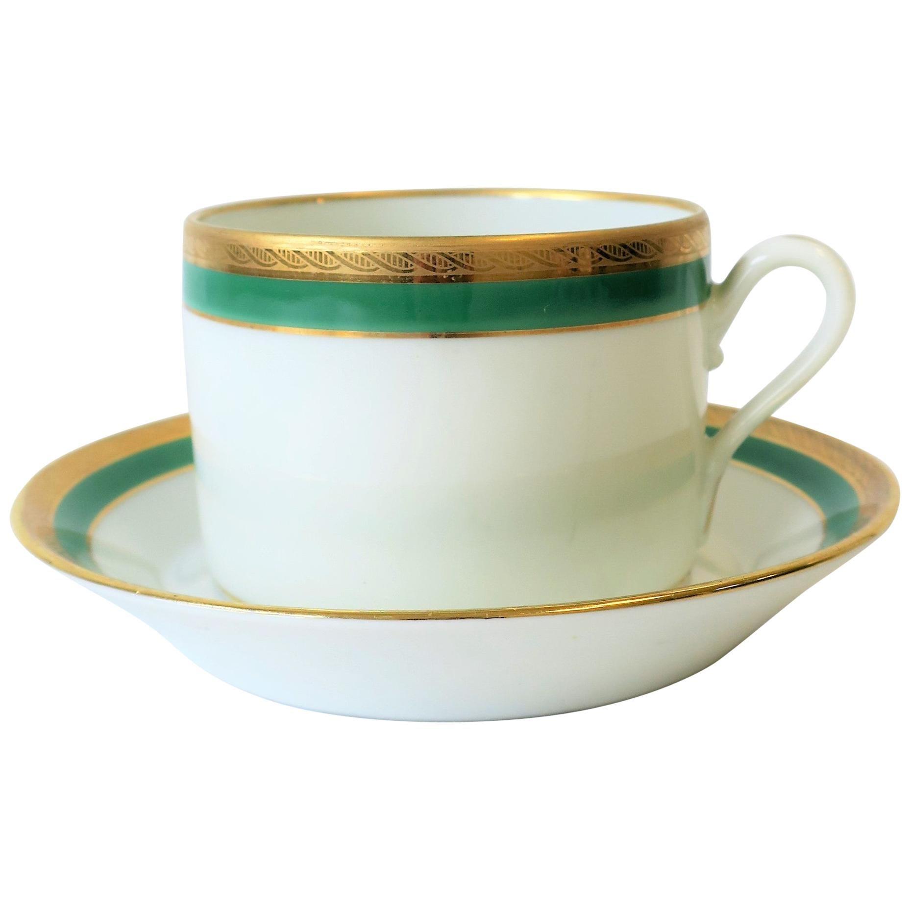 Richard Ginori Designer Italian Coffee or Tea Cup and Saucer in Green and Gold