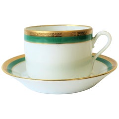 Richard Ginori Designer Italian Coffee or Tea Cup and Saucer in Green and Gold