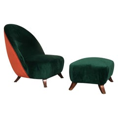 Italian Green or Brick Velvet and Wooden Structure Pouf and Armchair, 1950s